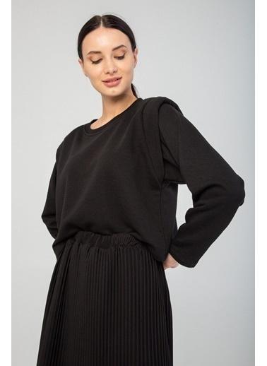 Modaset Vatkalı Crop Sweatshirt  Siyah